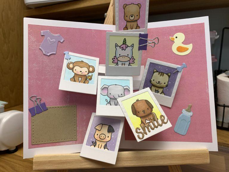 Babykort laget med Karen Burnistons Pop-up collage